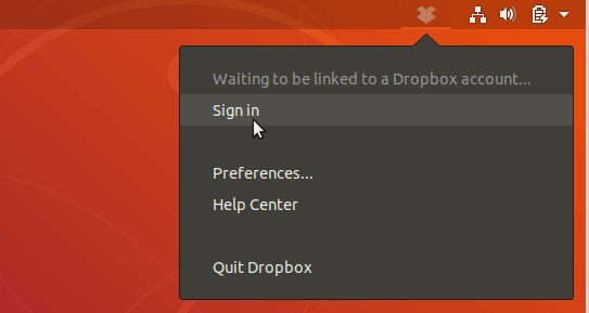 Click on the Dropbox icon and select Sign in