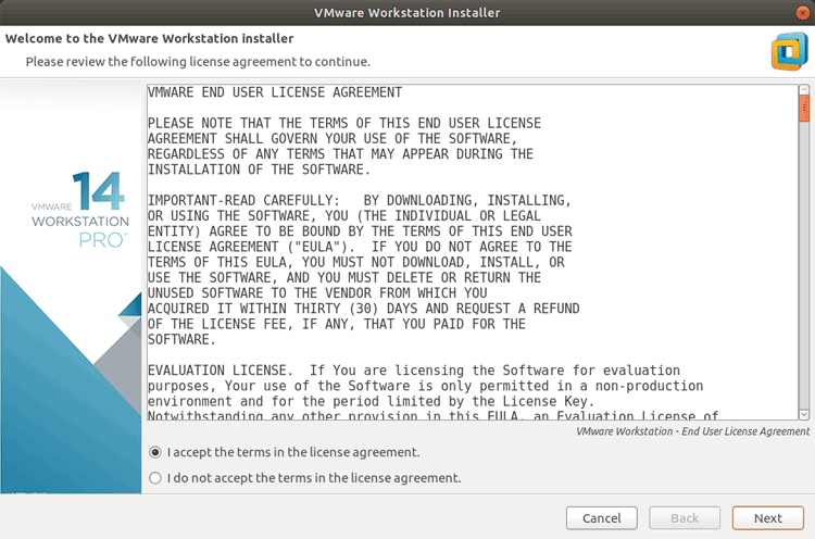 vmware workstation ubuntu: accept the license agreement and continue with the default options