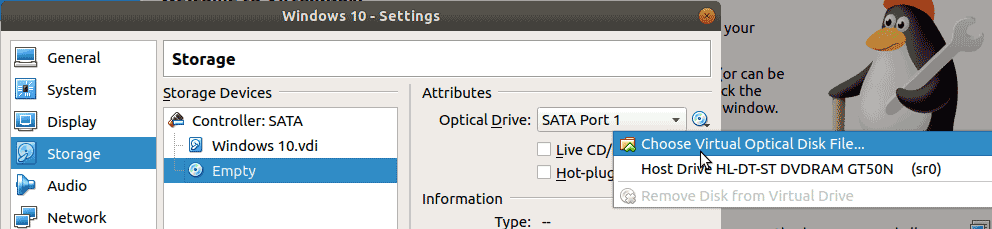 Under the Storage Devices click on the optical drive icon, then select your DVD drive or the ISO image of the OS