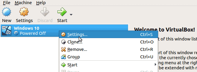 right click on the VM and click Settings