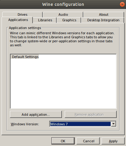 After the installation is finished, run the winecfg command to configure wine