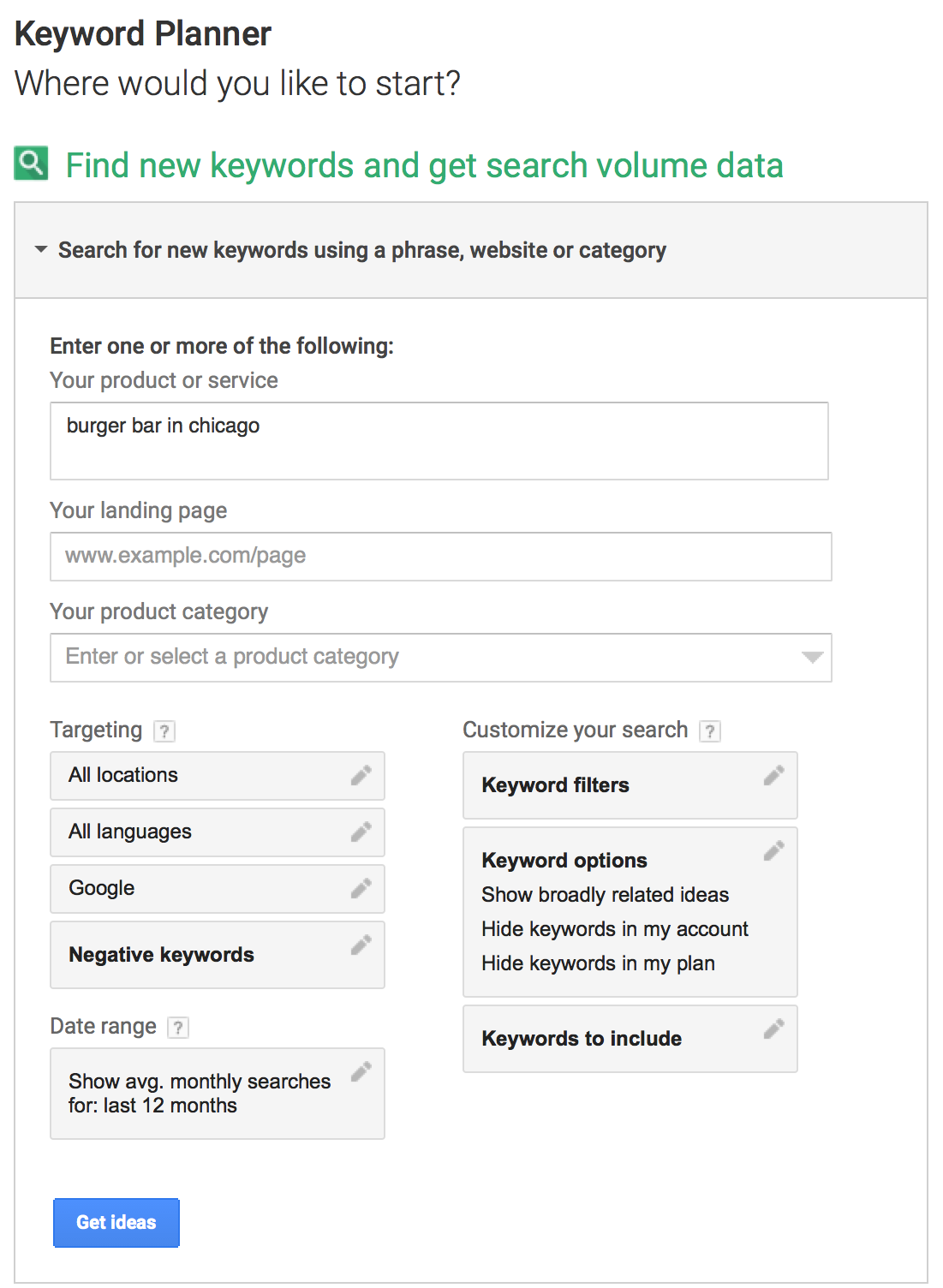 Keyword Planner - Step 1
