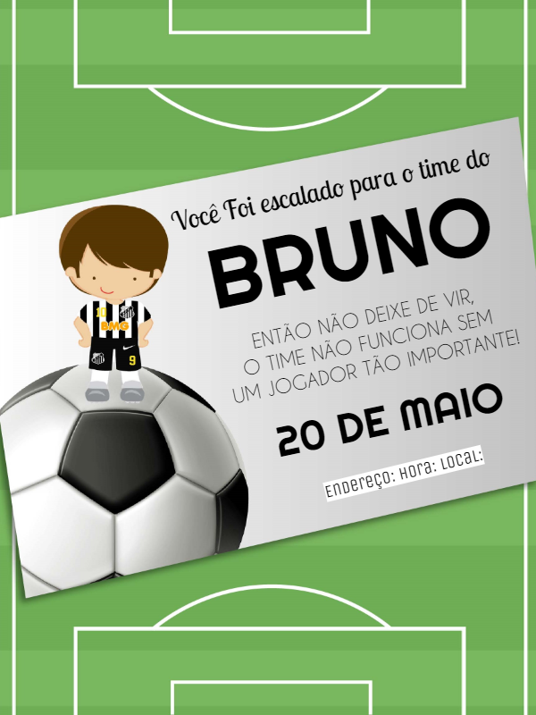 Santos Futebol Clube Birthday Invitation
