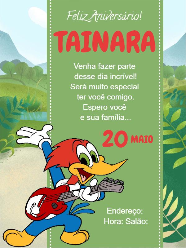 Pica Pau Birthday Invitation