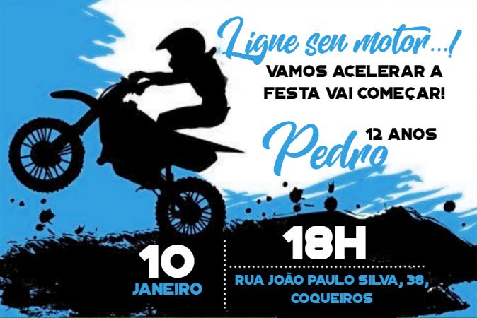 Convite de Aniversário Azul de moto para meninos