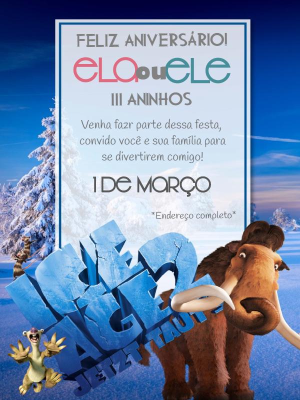 Ice Age Birthday Invitations