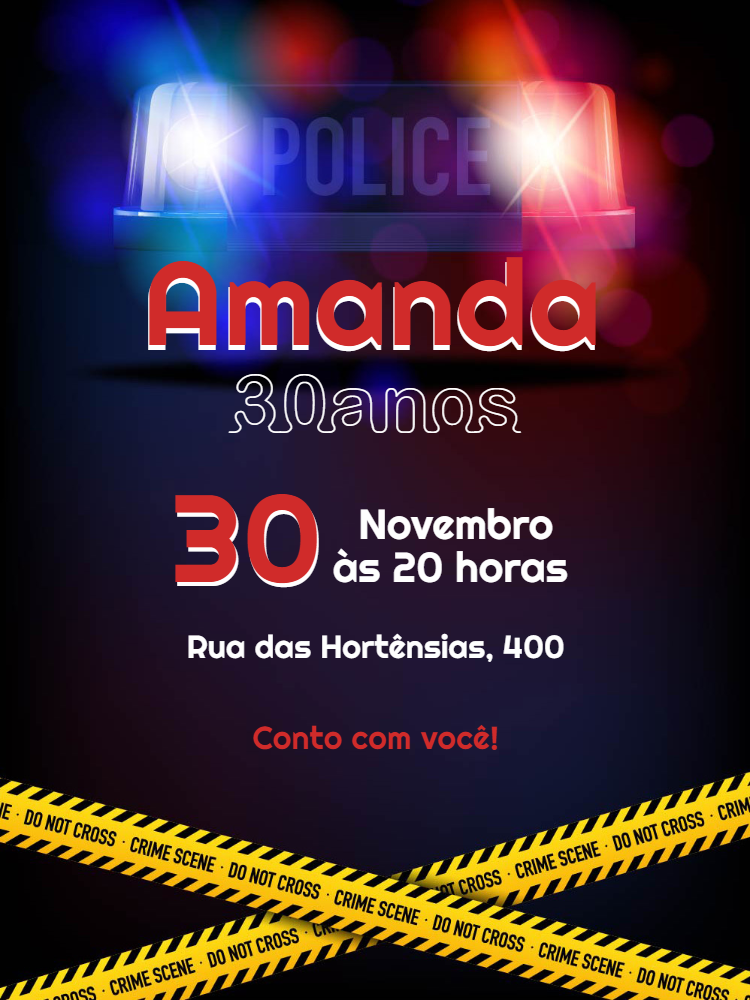 Female Adult Policeman Theme Birthday Invitation