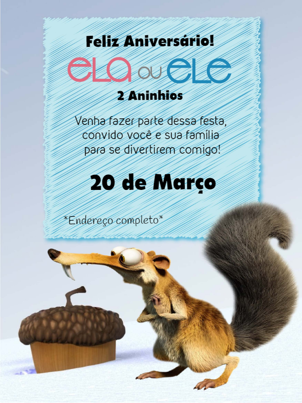 Ice Age Birthday Invitations
