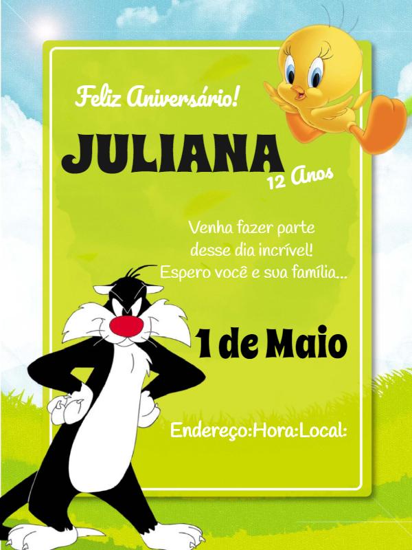 Piu Piu and Frajola Birthday Invitation