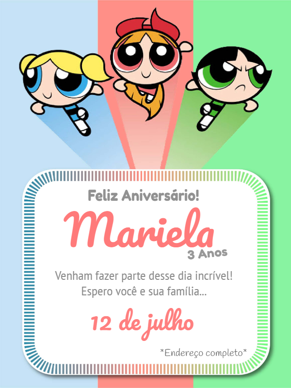 Super Power Girls Birthday Invitation