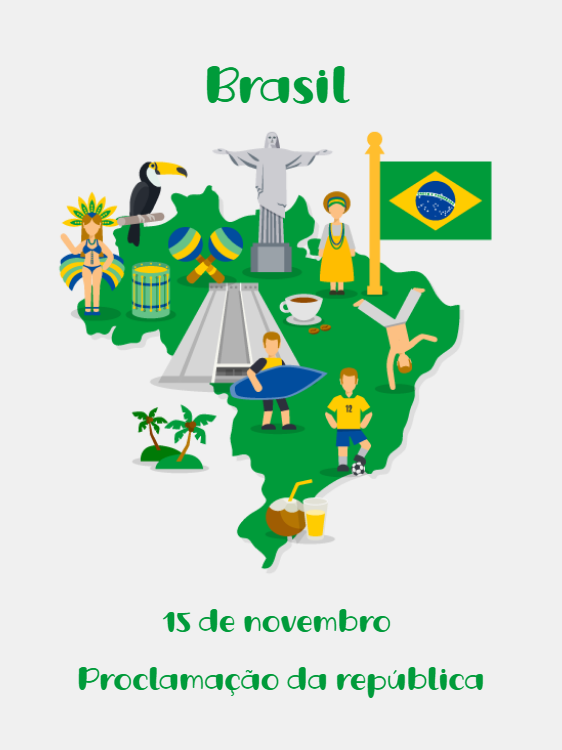 Card Map of Brazil Proclamation of the Republic