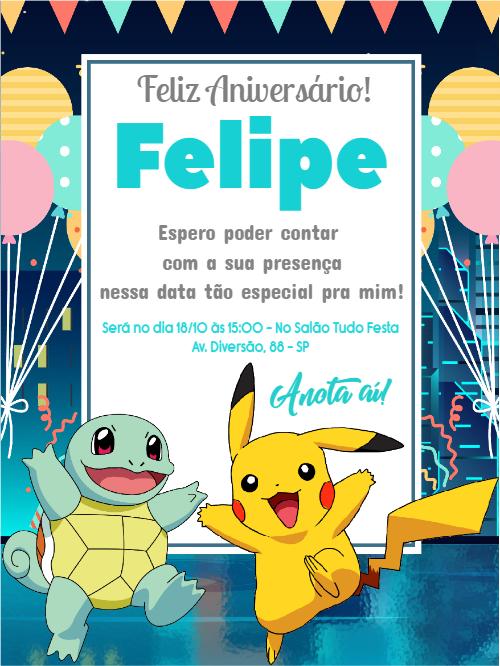 Convite de Aniversário Pokémon 3