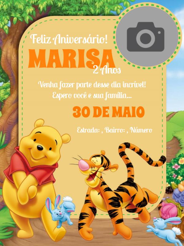 Pooh Bear Birthday Invitation