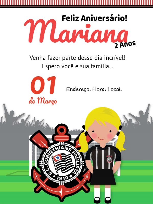 Kids Corinthians Football Birthday Party Invitation
