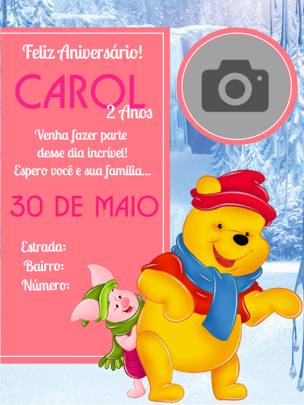 Pooh Bear Birthday Invitation