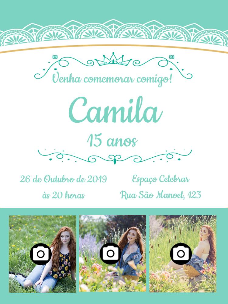 Female 15th Birthday Invitation