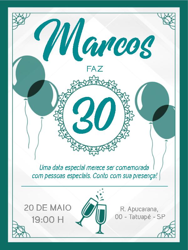 Blue Birthday Invitation
