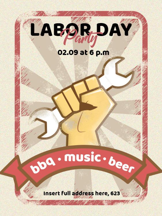 Labor Day Invitation Card