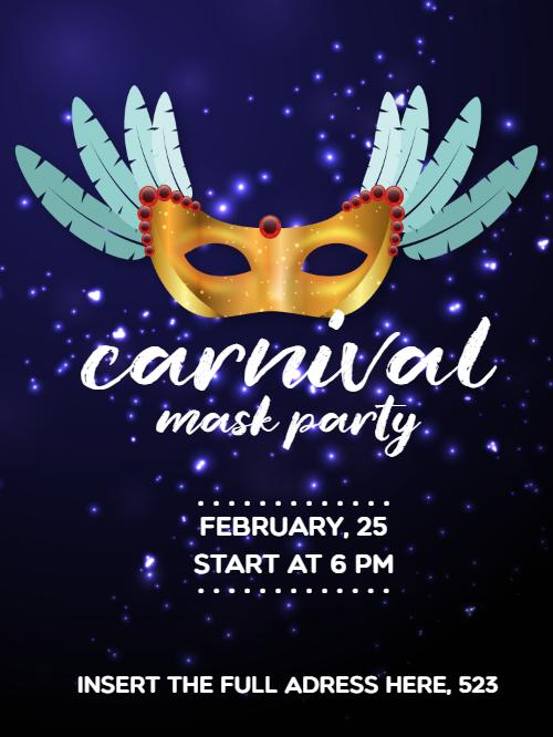 Carnival Mask Party Invitation