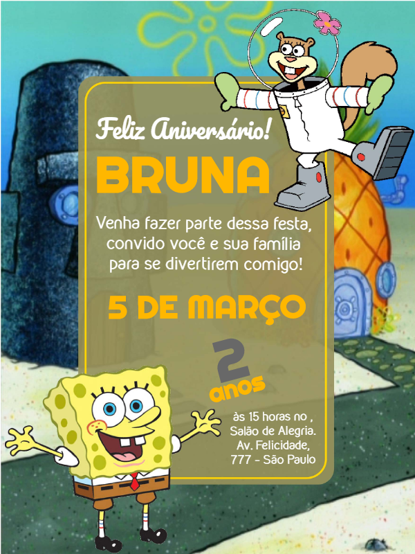 Spongebob Birthday Invitations
