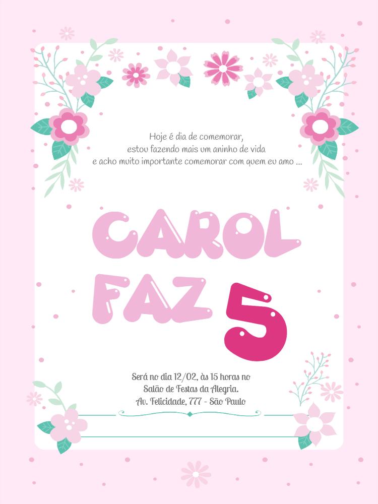 Convite de aniversario flores