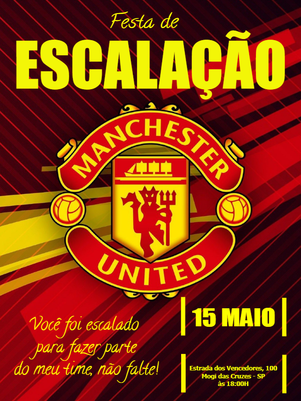 Manchester United Football Birthday Invitation