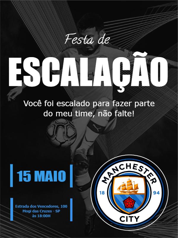 Manchester City Time Birthday Invitation