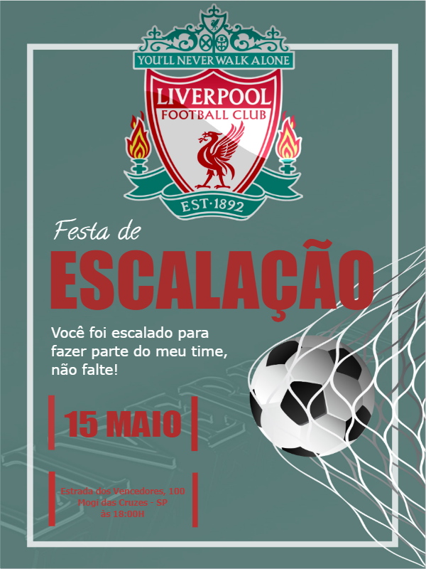 Liverpool Football Birthday Invitation
