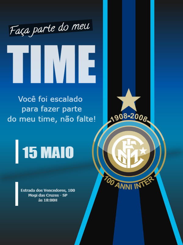 Time Inter Milan Birthday Invitation