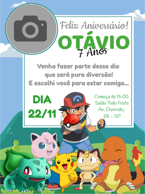 Pokémon Birthday Invitation