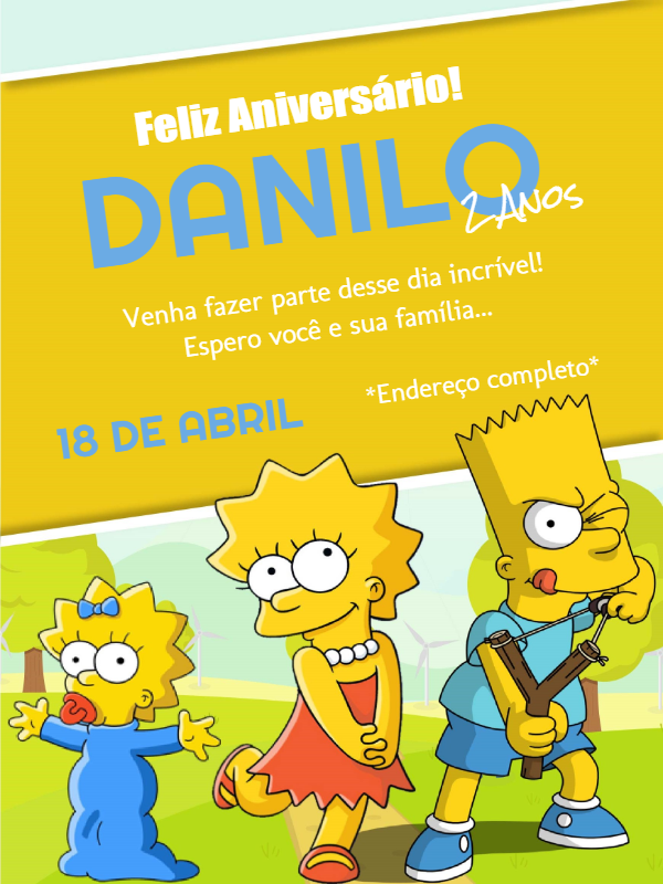 The Simpsons Birthday Invitation