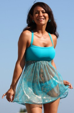 Sheer Sparkle Teal Swimdress