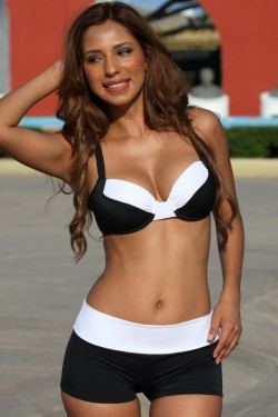 Black and White Banded Bikini