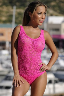Neon Pink Sheer French Lace