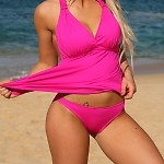 Open Back Hot Pink Tankini Bottom