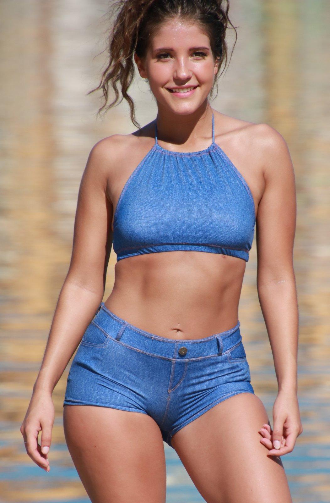 Baby Blue Jean Bikini Short