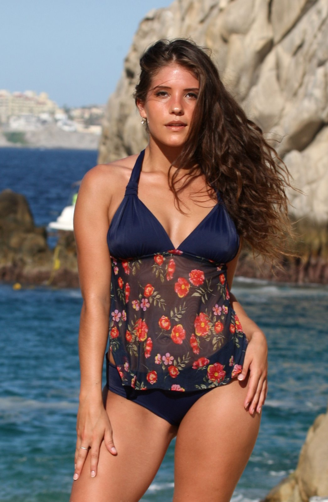 Country Garden Navy Tankini