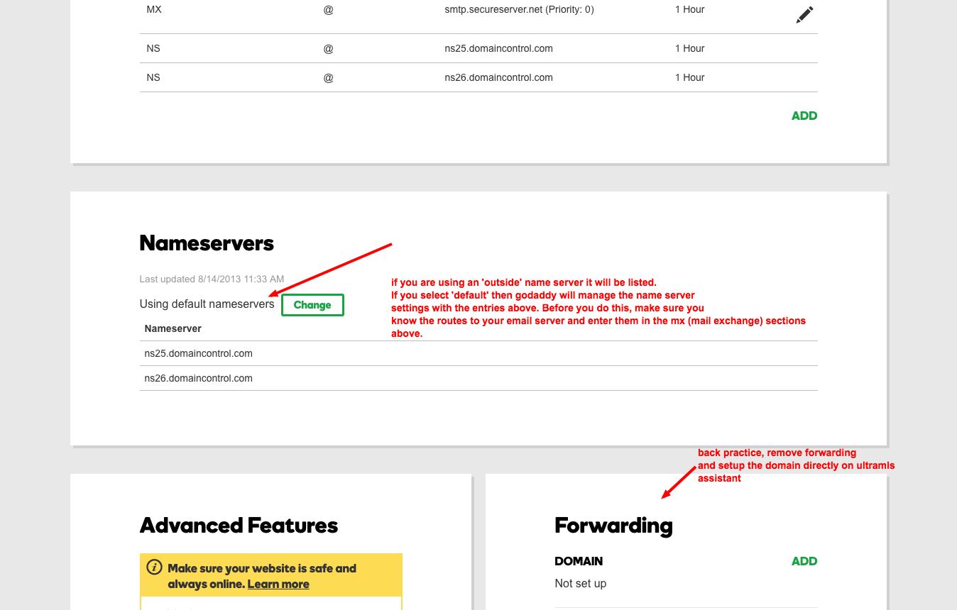 Setting Godaddy domains to your ULTRAMLS idx server