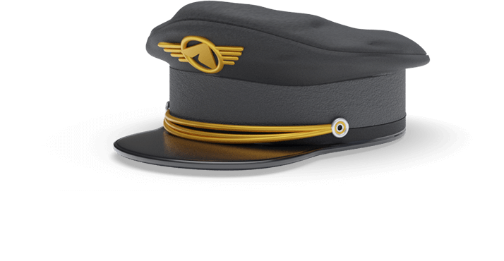 Golden pilot hat