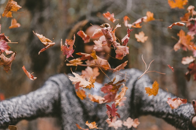 autumn leaves with man