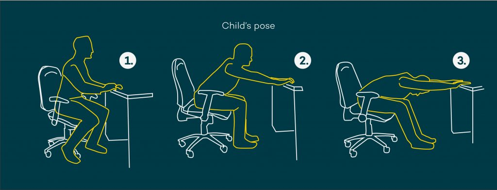 Desk stretches - seated child's pose