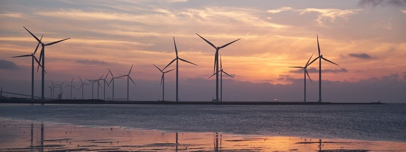 Wind farm generating renewable energy