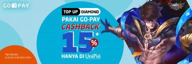 Top Up pakai GO-PAY di UniPin Cashback 15%