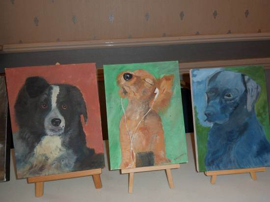 Painting of three dogs