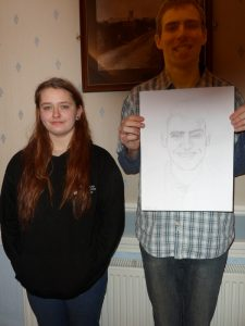 Laura with drawing subject