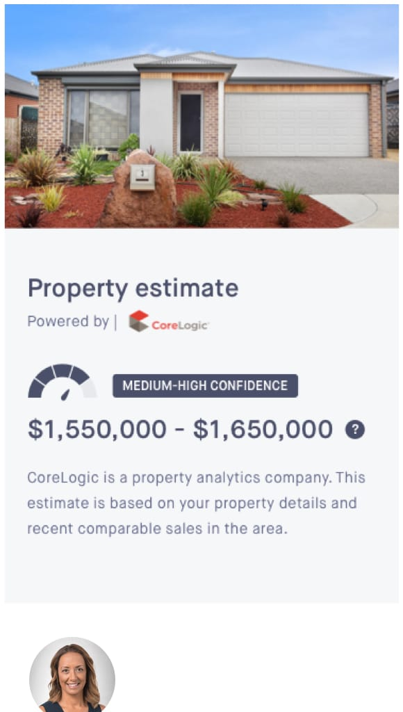 Property estimate screen