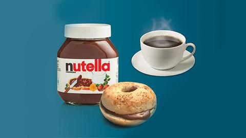 Mini bagel me nutella dhe kafe