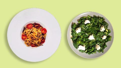 Lakra jeshile sote me spinaq, kale, pazi, chilli, salcë djathi dhe tagliatele me pomodorini, mocarela