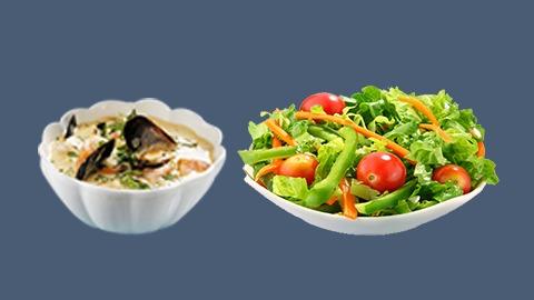 Supë peshku dhe sallatë jeshile e marinuar
