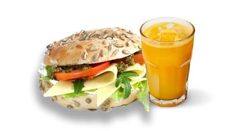 Bagel krem vegjetarian dhe lëng portokalli